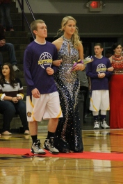 Photo by: Nicaila Mata --- Senior Kasen Mount walks with her escort, Michael Barber.